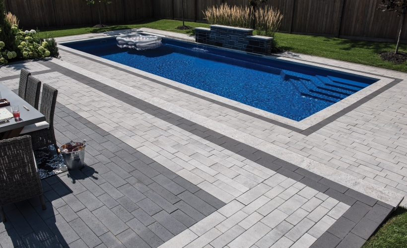 Patio with pool using Presidio product from Brampton Brick