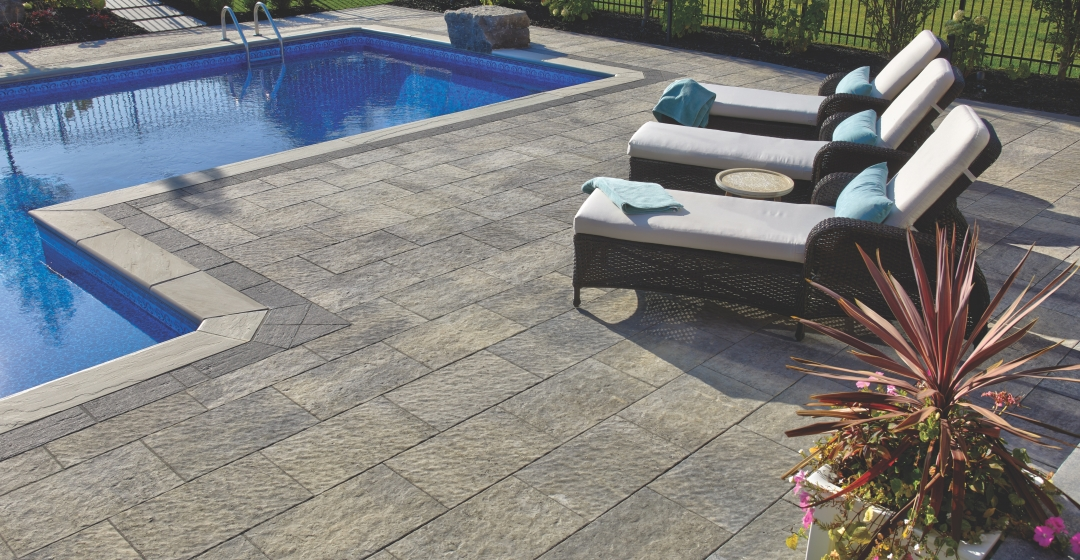 Patio with pool using Rialto 50mm product from Brampton Brick