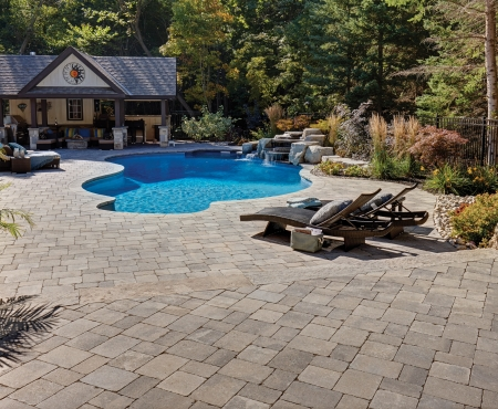 Patio with pool using Colonnade products from Brampton Brick