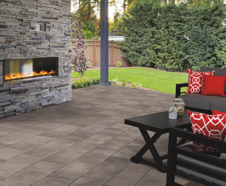 Patio with fireplace using Molina® products from Brampton Brick