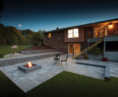 Patio with fireplace and garden walls using Molina® and Modan products from Brampton Brick
