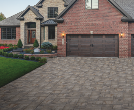 House and driveway using Vivace and Nueva Paver products from Brampton Brick